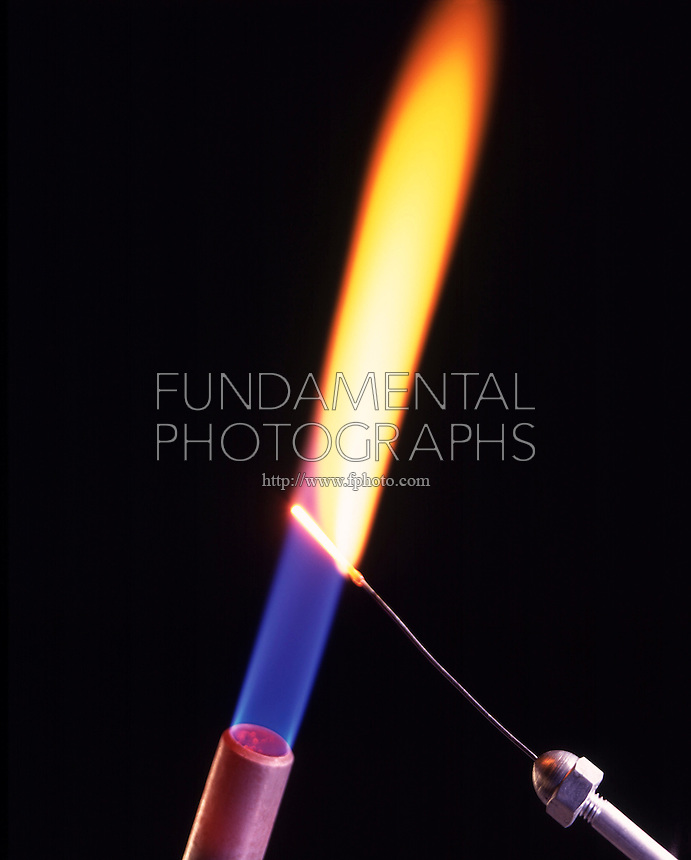 SODIUM FLAME TEST<br /> (Variations Available)<br /> Bright Yellow Flame Shows Presence Of Sodium(Alkali metal) <br /> Sodium compound is dissociated by flame into gaseous atoms, not ions. The atoms of the element are raised to excited state by high temperature of flame. Excess energy from the atom is emitted as light of a characteristic wavelength.