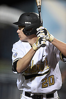Vanderbilt Commodores outfielder Bryan Reynolds (20) on deck during a game against the Indiana State Sycamores on February 20, 2015 at Charlotte Sports Park in Port Charlotte, Florida.  Vanderbilt defeated Indiana State 3-2.  (Mike Janes/Four Seam Images)