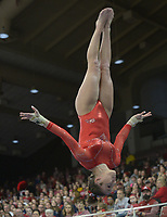 NWA Democrat-Gazette/ANDY SHUPE<br /> Arkansas' Kennedy Hambrick competes in the vault Saturday, Jan. 5, 2019, during the Razorbacks' meet with No. 2 Oklahoma in Barnhill Arena in Fayetteville. Visit nwadg.com/photos to see more photographs from the meet.