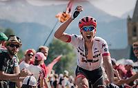 "Koen de Kort (NED/Trek-Segafredo) urging the crowd to make some noise coming through ""Dutch Corner"" (#7)<br /> <br /> Stage 12: Bourg-Saint-Maurice / Les Arcs > Alpe d'Huez (175km)<br /> <br /> 105th Tour de France 2018<br /> ©kramon"