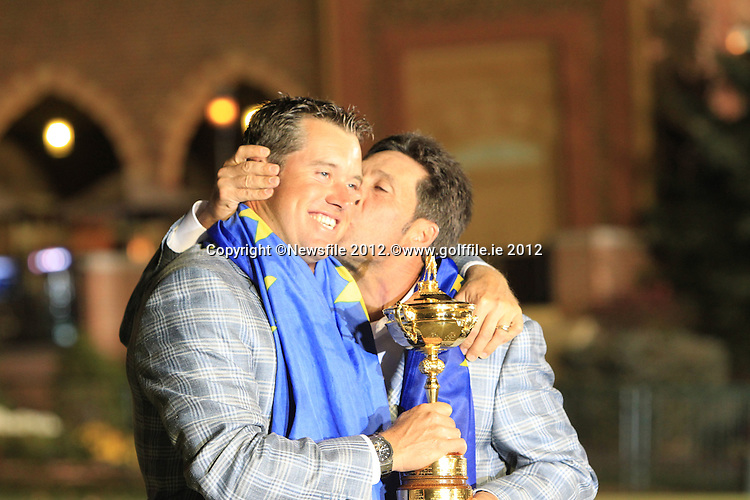 Winning European Team Captain Jose Maria Olazabal (ESP) and Lee Westwood (ENG) after Sunday's Singles Matches of the 39th Ryder Cup at Medinah Country Club, Chicago, Illinois 30th September 2012 (Photo Colum Watts/www.golffile.ie)