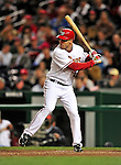 29 September 2009: Washington Nationals' infielder Pete Orr in action against the New York Mets at Nationals Park in Washington, DC. The Nationals rallied to defeat the Mets 4-3 in the second game of their final 3-game home series. Mandatory Credit: Ed Wolfstein Photo