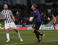 Radoslaw Cierzniak closed down by Sam Parkin in the St Mirren v Dundee United Clydesdale Bank Scottish Premier League match played at St Mirren Park, Paisley on 27.10.12.