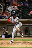 Pensacola Blue Wahoos right fielder Aristides Aquino (6) at bat during a game against the Birmingham Barons on May 8, 2018 at Regions Field in Birmingham, Alabama.  Birmingham defeated Pensacola 5-2.  (Mike Janes/Four Seam Images)