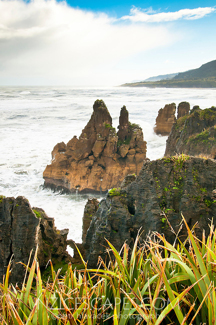 Pancake Rocks - limestone formations in Punakaiki, Paparoa National Park, West Coast, New Zealand