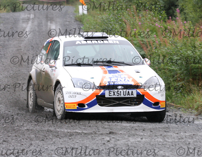 Dave Weston - Dave Robson at Junction 9 on Special Stage 1 Moorfield Motor Services Craignell of the GWF Energy Merrick Stages Rally 2013, Round 7 of the RAC MSA Scotish Rally Championship which was organised by Machars Car Club and Scottish Sporting Car Club and based in Wigtown on 7.9.13.