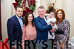 Baby Hazel O'Conner with her parents Siobhan & Aiden O'Connor, Listowel and god parents Ross Walshe & Claire Galvin who was christened by Canon Declan O'Connor in St. Mary's Church, Listowel on Saturday last and afterwards at Behan's Horseshoe Bar & Restaurant, Listowel.