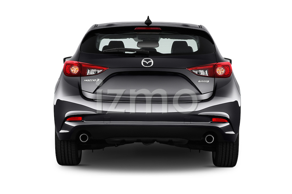 Straight rear view of 2017 Mazda Mazda3 Grand-Touring 5 Door Hatchback Rear View  stock images