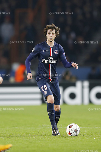 Adrien Rabiot (PSG), NOVEMBER 25, 2014 - Football / Soccer : UEFA Champions League Group F match between Paris Saint-Germain 3-1 AFC Ajax at the Parc des Princes Stadium in Paris, France. (Photo by Mutsu Kawamori/AFLO) [3604]
