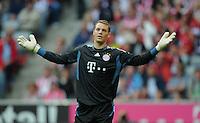 FUSSBALL   1. BUNDESLIGA  SAISON 2011/2012   1. Spieltag   07.08.2011 FC Bayern Muenchen - Borussia Moenchengladbach         Torwart Manuel Neuer (FC Bayern Muenchen) nachdenklich