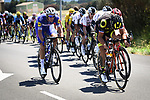 The peloton in action during Stage 14 of the 2018 Tour de France running 188km from Saint-Paul-Trois-Chateaux to Mende, France. 21st July 2018. <br /> Picture: ASO/Pauline Ballet | Cyclefile<br /> All photos usage must carry mandatory copyright credit (&copy; Cyclefile | ASO/Pauline Ballet)