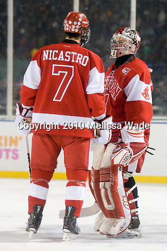 Max Nicastro (BU - 7), Kieran Millan (BU - 31) - The Boston University Terriers defeated the Boston College Eagles 3-2 on Friday, January 8, 2010, at Fenway Park in Boston, Massachusetts, as part of the Sun Life Frozen Fenway doubleheader.