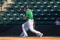 Patrick Biondi (5) of the Savannah Sand Gnats follows through on his swing against the Hickory Crawdads at L.P. Frans Stadium on June 14, 2015 in Hickory, North Carolina.  The Crawdads defeated the Sand Gnats 8-1.  (Brian Westerholt/Four Seam Images)