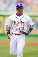 Left fielder Trey Watkins #3 of the LSU Tigers jogs off the field between innings against the Wake Forest Demon Deacons at Alex Box Stadium on February 19, 2011 in Baton Rouge, Louisiana.  The Tigers defeated the Demon Deacons 4-3.  Photo by Brian Westerholt / Four Seam Images