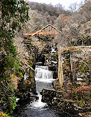 HDR IMAGE - Pic shows the new Bracklinn Falls Bridge, near Callander, which opens tomorrow (Tues 16th). The popular walking spot at Bracklinn Falls has been without a bridge since flash floods washed away the original bridge in 2004. Loch Lomond & The Trossachs National Park has worked with Callander Community Development Trust to replace the bridge. The rural location of the site made it impossible to use traditional installations methods including crane and helicopter options. A team of two contractors had to winch the 20 metre steel and timber structure into place by hand. The bridge has a distinct copper roof and is designed using locally sourced Larch and four Douglas Fir tree trunks each measuring 12 metres long. It weighs 20 tonnes and took over 3,000 man hours to install, at a cost of £110,000. Project Manager Kenny Auld (in some pics) is on 07740073286 - picture by Donald MacLeod 15.11.10 - mobile 07702 319 738 - clanmacleod@btinternet.com - www.donald-macleod.com