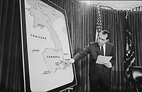 President Nixon points out the NVA sanctuaries along the Cambodian border in his speech to the American people announcing the Cambodian incursion.  30 April 1970<br /> <br /> PHOTO : Jack E. Kightlinger (White House Photo Office)