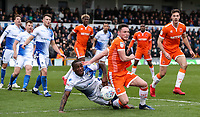 Blackpool's Jordan Thompson competing with Bristol Rovers' Abu Ogogo <br /> <br /> Photographer Andrew Kearns/CameraSport<br /> <br /> The EFL Sky Bet League Two - Bristol Rovers v Blackpool - Saturday 2nd March 2019 - Memorial Stadium - Bristol<br /> <br /> World Copyright © 2019 CameraSport. All rights reserved. 43 Linden Ave. Countesthorpe. Leicester. England. LE8 5PG - Tel: +44 (0) 116 277 4147 - admin@camerasport.com - www.camerasport.com