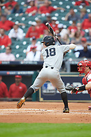 Pat DeMarco (18) of the Vanderbilt Commodores at bat against the Louisiana Ragin' Cajuns in game five of the 2018 Shriners Hospitals for Children College Classic at Minute Maid Park on March 3, 2018 in Houston, Texas.  The Ragin' Cajuns defeated the Commodores 3-0.  (Brian Westerholt/Four Seam Images)