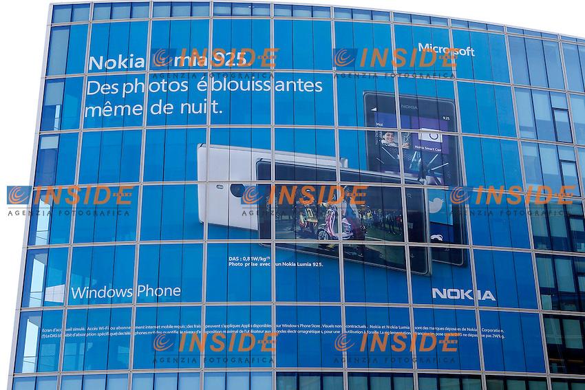 Parigi 5-9-2013 La sede della Microsoft, che ha annunciato l'acquisto delle attivit&agrave;' dei cellulari Nokia.<br /> Photo Gwendoline Le Goff / Panoramic / Insidefoto