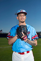 Spokane Indians pitcher Yerry Rodriguez (48) poses for a photo before a Northwest League game against the Vancouver Canadians at Avista Stadium on September 2, 2018 in Spokane, Washington. The Spokane Indians defeated the Vancouver Canadians by a score of 3-1. (Zachary Lucy/Four Seam Images)