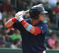 "Greenville Drive players, including infielder David Renfroe (16), wore blue jerseys and wrist bands for colon cancer awareness Sunday at Fluor Field at the West End for the ""Drive Out Colon Cancer"" game sponsored by BlueCross BlueShield of South Carolina. The Drive lost to intrastate rival Charleston RiverDogs, 7-5. (Tom Priddy/Four Seam Images)"