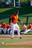 Frederick Keys third baseman Jomar Reyes (3B) leads off first base during the first game of a doubleheader against the Lynchburg Hillcats on June 12, 2018 at Nymeo Field at Harry Grove Stadium in Frederick, Maryland.  Frederick defeated Lynchburg 2-1.  (Mike Janes/Four Seam Images)