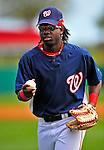 8 March 2009: Washington Nationals' outfielder Lastings Milledge heads back to the dugout after recording an out during a Spring Training game against the New York Mets at Space Coast Stadium in Viera, Florida. The Nationals defeated the Mets 8-3 in the Grapefruit League matchup. Mandatory Photo Credit: Ed Wolfstein Photo