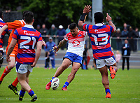 James So'oialo attempts a last-minute drop goal in the dying moments of the Heartland championship rugby semifinal between Horowhenua Kapiti and Buller at Levin Domain in Levin, New Zealand on Saturday, 21 October 2017. Photo: Dave Lintott / lintottphoto.co.nz