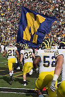The Michigan Wolverines take the field. The Michigan Wolverines defeated the Purdue Boilermakers 44-13 on October 6, 2012 at Ross-Ade Stadium in West Lafayette, Indiana.