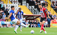 Lincoln City's Jason Shackell vies for possession with Sheffield Wednesday's Joey Pelupessy<br /> <br /> Photographer Chris Vaughan/CameraSport<br /> <br /> Football Pre-Season Friendly - Lincoln City v Sheffield Wednesday - Saturday July 13th 2019 - Sincil Bank - Lincoln<br /> <br /> World Copyright © 2019 CameraSport. All rights reserved. 43 Linden Ave. Countesthorpe. Leicester. England. LE8 5PG - Tel: +44 (0) 116 277 4147 - admin@camerasport.com - www.camerasport.com