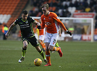 Blackpool's Sean Longstaff and Bristol Rovers' Ollie Clarke<br /> <br /> Photographer Stephen White/CameraSport<br /> <br /> The EFL Sky Bet League One - Blackpool v Bristol Rovers - Saturday 13th January 2018 - Bloomfield Road - Blackpool<br /> <br /> World Copyright &copy; 2018 CameraSport. All rights reserved. 43 Linden Ave. Countesthorpe. Leicester. England. LE8 5PG - Tel: +44 (0) 116 277 4147 - admin@camerasport.com - www.camerasport.com