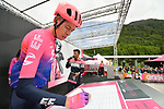 Hugh John Carthy (GBR) EF Education First at sign on before Stage 17 of the 2019 Giro d'Italia, running 181km from Commezzadura (Val di Sole) to Anterselva / Antholz, Italy. 29th May 2019<br /> Picture: Massimo Paolone/LaPresse | Cyclefile<br /> <br /> All photos usage must carry mandatory copyright credit (© Cyclefile | Massimo Paolone/LaPresse)