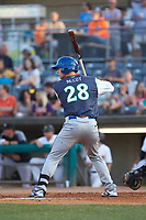 Brewer Hicklen (28) of the Lexington Legends at bat against the West Virginia Power at Appalachian Power Park on June 7, 2018 in Charleston, West Virginia. The Power defeated the Legends 5-1. (Brian Westerholt/Four Seam Images)