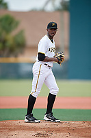 GCL Pirates starting pitcher Randy Jimenez (25) gets ready to deliver a pitch during the second game of a doubleheader against the GCL Yankees East on July 31, 2018 at Pirate City Complex in Bradenton, Florida.  GCL Pirates defeated GCL Yankees East 12-4.  (Mike Janes/Four Seam Images)