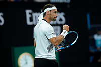 26th January 2020; Melbourne Park, Melbourne, Victoria, Australia; Australian Open Tennis, Day 7; Fabio Fognini of Italy celebrates a point during his match against Tennys Sandgren of USA