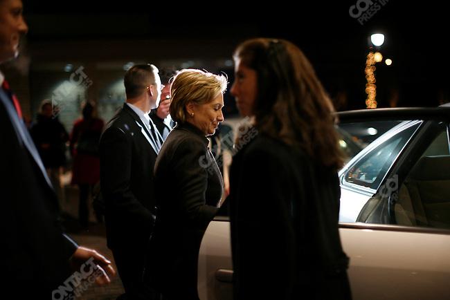 Senator Hillary Clinton, campaigning, Des Moines, Iowa,.