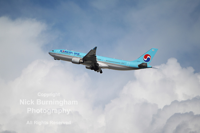 LOS ANGELES, CALIFORNIA, USA - MARCH 8: A Korean Air Airbus A330-200 takes off from Los Angeles Airport on March 8, 2013. It carries 253 passengers with a range of 13,400 km