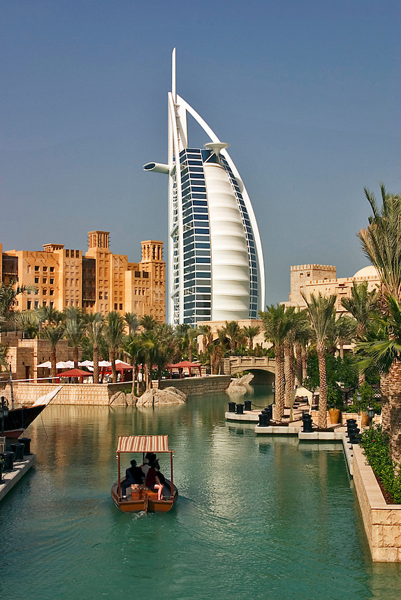Dubai, United Arab Emirates. Madinat Jumeirah. Burj al Arab Hotel, .Mina A'Salam Hotel and Convention Centre. Water taxi. Abra..