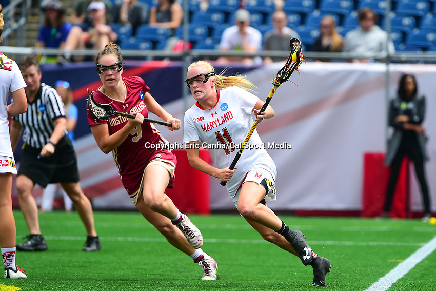 May 28, 2017: Maryland Terrapins Caroline Steele (11) charges with the ball during the NCAA Division I Women's Lacrosse Championship between the Boston College Eagles and Maryland Terrapins at Gillette Stadium, in Foxborough, MA, USA. The Maryland Terrapins defeat the BC Eagles 16-13. Eric Canha/CSM