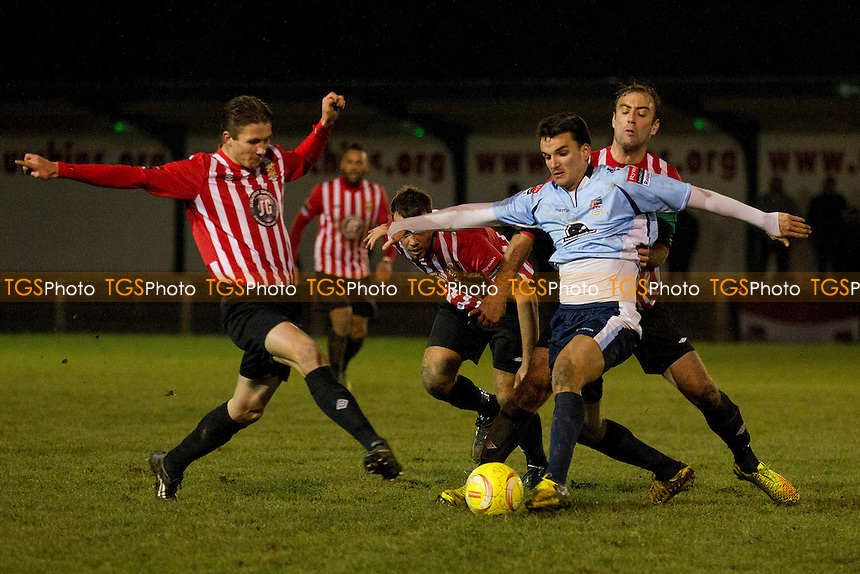 Elliot Styles and Billy Roast team up to try and disposess the Kingstonian attacker- AFC Hornchurch vs Kingstonian - Ryman League Premier Division Football at the Stadium, Upminster Bridge - 13/12/14 - MANDATORY CREDIT: Ray Lawrence/TGSPHOTO - Self billing applies where appropriate - contact@tgsphoto.co.uk - NO UNPAID USE