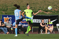 Piscataway, NJ - Sunday June 19, 2016: Kelley O'Hara, Havana Solaun during a regular season National Women's Soccer League (NWSL) match between Sky Blue FC and Seattle Reign FC at Yurcak Field.