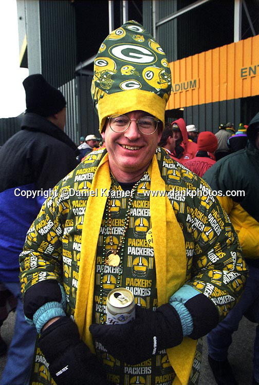 A Green Bay Packers' fan dressed as a Pope.