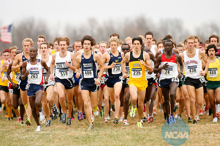 22 NOV 2010:  Diego Estrada of the University of Northern Arizona (406) leads the pack during the Division I Men's Cross Country Championship held at the Wabash Valley Family Sports Center in Terre Haute, IN.  Estrada finished in 16th place with a 30:10.7 time.  Jamie Schwaberow/NCAA Photos