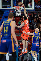 Valencia Basket's Pierre Oriola and Herbalife Gran Canaria's Albert Oliver during Quarter Finals match of 2017 King's Cup at Fernando Buesa Arena in Vitoria, Spain. February 17, 2017. (ALTERPHOTOS/BorjaB.Hojas) /Nortephoto.com