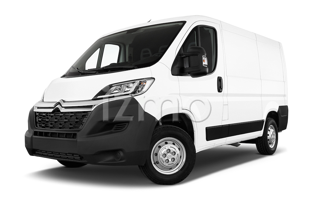 Low aggressive front three quarter view of 2015 Citroen Jumper L1H1 Club 3 Door Cargo Van