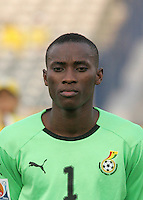 Ghana's Daniel Agyei (1) stands on the field before the game against Hungary at the FIFA Under 20 World Cup Semi-final match at the Cairo International Stadium in Cairo, Egypt, on October 13, 2009. Costa Rica won the match 1-2 in overtime play. Ghana won the match 3-2.