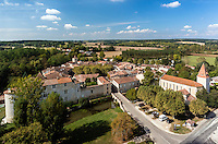 France, Gers (32), Fourc&egrave;s, class&eacute; Les Plus Beaux Villages de France (vue a&eacute;rienne) // France, Gers, Fources, labelled Les Plus Beaux Villages de France (The Most beautiful<br /> Villages of France), (aerial view)