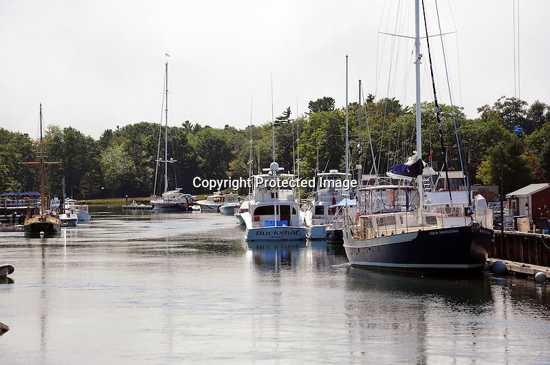 Boats at Dock in Kennebunkport Harbor in Maine, USA