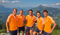 "Austria, Kitzbuhel, Juli 15, 2015, Tennis, Davis Cup, Dutch team on top of the ""Hahnenkam""  ltr:   Thiemo de Bakker, Captain Jan Siemerink,  Jesse Huta Galung, , Jean-Julien Rojer, Robin Haase, <br /> Photo: Tennisimages/Henk Koster"