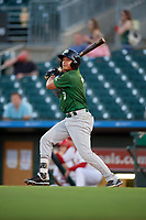 Daytona Tortugas shortstop Yonathan Mendoza (7) bats during a Florida State League game against the Palm Beach Cardinals on April 11, 2019 at Roger Dean Stadium in Jupiter, Florida.  Palm Beach defeated Daytona 6-0.  (Mike Janes/Four Seam Images)